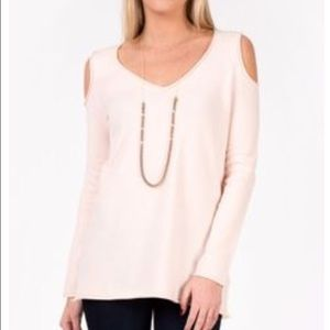 French Connection Cold Shoulder Pink Sweater
